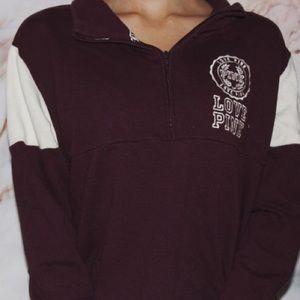 VS Pink Quarter Zip Long Sleeve Sweater